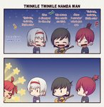 2koma 4girls >_< acoustic_guitar ahoge anchor_symbol azur_lane baby bangs beamed_eighth_notes black_hair closed_eyes colorado_(azur_lane) comic commentary_request eighth_note english_text eyebrows_visible_through_hair guitar hairband instrument long_hair lyrics maryland_(azur_lane) meme mole multiple_girls music musical_note open_mouth peeking_out ponytail quarter_note red_hair red_hairband romaji_text san_diego_(azur_lane) singing sky smile star star_(sky) starry_sky tongue tongue_out tweetdian twinkle_twinkle_little_star west_virginia_(azur_lane) white_hair younger