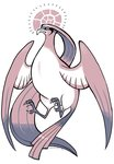 claws commentary emphasis_lines flying full_body gen_1_pokemon glitchedpuppet helix_fossil highres monochrome no_humans pidgeot pokemon pokemon_(creature) profile signature solo stern twitch_plays_pokemon wings