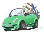 1girl beret blonde_hair blue_hair car check_commentary chibi citroen citroen_c3 commandant_teste_(kantai_collection) commentary commentary_request crane driving ground_vehicle hat kantai_collection license_plate long_hair machinery motor_vehicle multicolored_hair partial_commentary pom_pom_(clothes) red_hair sakusan simple_background solo streaked_hair twitter_username wavy_hair white_background white_hair