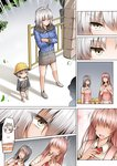 +++ 1boy 3girls ahoge androgynous apron bag bandaid comic commentary crossed_arms faceless faceless_female fate/grand_order fate_(series) fire fur_trim ginhaha grey_hair hat jeanne_d'arc_(alter)_(fate) jeanne_d'arc_(fate)_(all) kindergarten_uniform mother_and_son multiple_girls pink_hair school_bag school_hat short_hair silent_comic silver_hair spoken_object sweat wicked_dragon_witch_ver._shinjuku_1999 yellow_eyes