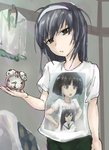 1girl alarm_clock angry bangs black_eyes black_hair black_neckwear black_shorts blouse blunt_bangs blurry blurry_background bob_cut casual character_print clock clothes_writing commentary cowboy_shot frown girls_und_panzer goripan green_skirt hairband hands_on_hips head_tilt highres holding indoors long_hair looking_at_viewer messy_hair neckerchief ooarai_school_uniform open_mouth parted_lips pleated_skirt print_shirt recursion reizei_mako school_uniform serafuku shirt short_hair short_sleeves shorts sketch skirt solo sono_midoriko standing t-shirt white_blouse white_hairband white_shirt
