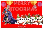1girl absurdly_long_hair animal_costume antlers beard bell bell_collar christmas christmas_tree collar dark_skin facial_hair fate/grand_order fate_(series) fur_trim hat jackal_ears long_hair low-tied_long_hair medjed merry_christmas neko4327 nitocris_(fate/grand_order) purple_hair red_background red_nose reindeer_antlers reindeer_costume santa_costume santa_hat scepter twitter_username very_long_hair
