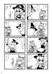 2girls 4koma cirno comic dai-oki failure greyscale highres kirisame_marisa monochrome multiple_4koma multiple_girls touhou translated