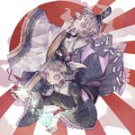 2girls abstract aqua_eyes back_bow blue_eyes bow collared_dress colored_eyelashes commentary_request cross-laced_clothes dress floral_print frilled_dress frilled_sleeves frills hat highres japanese_clothes juliet_sleeves kariginu long_sleeves looking_at_viewer mononobe_no_futo multiple_girls nail_polish ofuda ofuda_on_clothes orabi pom_pom_(clothes) ponytail puffy_sleeves rising_sun see-through soga_no_tojiko sunburst tate_eboshi touhou wide_sleeves