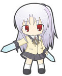 1girl angel_beats! bangs black_footwear black_skirt blade blazer chibi closed_mouth collared_shirt commentary_request eyebrows_visible_through_hair full_body hand_sonic jacket kneehighs long_hair long_sleeves neck_ribbon one_side_up pleated_skirt red_eyes ribbon rinechun school_uniform shirt silver_hair simple_background skirt solo standing tenshi_(angel_beats!) very_long_hair white_background white_legwear white_shirt yellow_ribbon