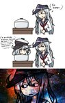 2girls 3koma :d :o anchor_symbol brown_eyes closed_eyes comic commentary english_text flat_cap food food_on_head gangut_(kantai_collection) hat hibiki_(kantai_collection) highres kantai_collection long_hair long_sleeves milky_way multiple_girls nebula neckerchief object_on_head oktyabrskaya_revolyutsiya_(kantai_collection) open_mouth pot raythalosm remodel_(kantai_collection) sailor_collar school_uniform serafuku smile space star_(sky) sweat v-shaped_eyebrows white_hair