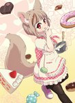 1girl animal_ears apron black_legwear bowl box brown_hair cake candy chocolate_icing commentary_request cookie cream doughnut dress fennery_(show_by_rock!!) finger_licking food fox_ears fox_tail frilled_dress frills fruit heart-shaped_box icing licking light_brown_hair pantyhose pink_footwear puffy_short_sleeves puffy_sleeves short_hair short_sleeves show_by_rock!! slice_of_cake strawberry tail tongue tongue_out wafer whisk yude_unagi
