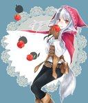 1girl animal_ears apple belt belt_pouch black_hair black_pants brown_gloves commentary_request fire_emblem fire_emblem_fates food fruit gloves grey_hair holding hood hood_up long_hair long_sleeves multicolored_hair open_mouth pants pouch red_eyes solo streaked_hair tail velouria_(fire_emblem) wolf_ears wolf_tail yuyu_(spika)