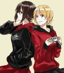 2girls back-to-back bangs beige_background black_jacket black_skirt blonde_hair blue_eyes braid brown_eyes brown_hair closed_mouth commentary cup darjeeling emblem from_side frown girls_und_panzer hand_in_pocket hand_on_neck holding holding_cup hood hoodie jacket long_sleeves looking_at_another looking_back multiple_girls nishizumi_maho parted_lips red_jacket red_skirt short_hair simple_background skirt smile standing teacup tied_hair twin_braids upper_body yuuyu_(777) zipper
