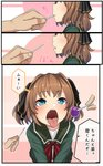 1boy 1girl 3koma black_ribbon blue_eyes brown_hair candy comic commentary_request food green_jacket green_skirt hachijou_(kantai_collection) hair_ribbon hetero highres holding holding_food jacket kantai_collection lollipop long_sleeves pleated_skirt ribbon ryuun_(stiil) short_hair skirt solo_focus speech_bubble translation_request