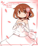 1girl bare_shoulders brown_eyes brown_hair detached_sleeves dress flower hair_flower hair_ornament hanomido highres ikazuchi_(kantai_collection) jewelry kantai_collection necklace petals ring short_hair smile solo wedding_dress wedding_ring