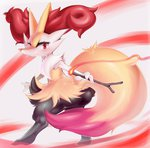 animal_ears ass blush braixen fire fox fox_ears fox_tail fur furry highres ibushiro no_humans pokemon pokemon_(game) pokemon_xy red_eyes simple_background smile stick tail white_background