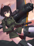 1girl a9b_(louis814) aircraft airplane animal_ears black_hair commentary_request fingerless_gloves gloves grey_eyes gun highres katou_takeko ki-43_hayabusa looking_at_viewer military military_uniform military_vehicle mp18 short_hair smile solo striker_unit submachine_gun uniform weapon world_witches_series