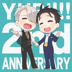 2boys ^_^ anniversary black_hair bow bowtie chain closed_eyes english_text formal heart-shaped_mouth holding_hands ice_skates katsuki_yuuri male_focus multiple_boys open_mouth ruei_(chicking) silver_hair skates smile suit v viktor_nikiforov waistcoat yuri!!!_on_ice