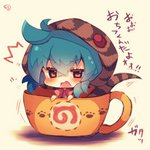 /\/\/\ 1girl bangs blue_hair blush bow brown_eyes chibi cup eyebrows_visible_through_hair hair_between_eyes hood hoodie in_container in_cup japari_symbol kemono_friends looking_at_viewer muuran open_mouth pink_bow signature snake_tail solo striped_hoodie striped_tail sweat tail translation_request tsuchinoko_(kemono_friends) wavy_mouth