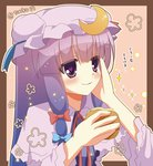 15_(tooka) 1girl blush bow capelet crescent_hair_ornament eating hair_bow hair_ornament hand_on_own_cheek hat hat_bow heart heart-shaped_pupils long_hair patchouli_knowledge purple_eyes purple_hair solo symbol-shaped_pupils touhou