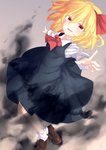 1girl ascot bangs black_dress blonde_hair bow brown_eyes brown_shoes collared_shirt dated dress fang full_body hair_between_eyes hair_bow highres kisamu_(ksmz) loafers long_sleeves looking_at_viewer open_mouth red_bow rumia shirt shoes short_hair sleeveless sleeveless_dress socks solo touhou white_legwear white_shirt