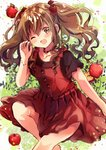 ;d apple apple_hair_ornament bracelet brown_eyes brown_hair collarbone dress eyebrows_visible_through_hair food food_themed_hair_ornament fruit hair_ornament highres jewelry long_hair looking_at_viewer nanahamu one_eye_closed open_mouth original red_dress red_shirt shirt smile two_side_up wavy_hair