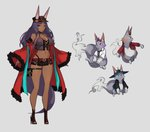1girl ainezu animal_ear_fluff animal_ears aqua_eyes bare_shoulders belt bracelet breasts choker cleavage commentary_request concept_art dark_skin ears_through_headwear eyeshadow fang fate/grand_order fate_(series) hat high_heels highres jewelry large_breasts legs long_hair makeup midriff navel pouch purple_hair queen_of_sheba_(fate/grand_order) short_shorts shorts simple_background sketch smile solo tail thighs wide_sleeves