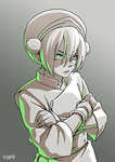 1girl avatar:_the_last_airbender avatar_(series) chinese_clothes crossed_arms gradient gradient_background green_eyes hair_bun hairband highres monochrome serious shiori_lee_jeng solo spot_color toph_bei_fong upper_body