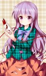 1girl bow expressionless eyebrows_visible_through_hair fox_mask hair_between_eyes hata_no_kokoro highres holding holding_mask long_hair long_sleeves looking_at_viewer mask mask_removed plaid plaid_background plaid_shirt purple_bow purple_eyes purple_hair ruu_(tksymkw) shirt skirt solo touhou unmoving_pattern very_long_hair