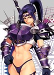 1girl abs armor bikini_armor bikini_bottom black_gloves blue_hair boobplate breastplate closed_mouth forehead_protector gloves grey_background groin hexagram high_ponytail highres holding holding_weapon long_hair looking_at_viewer mole mole_under_mouth ogami original pauldrons pointy_ears ponytail purple_armor purple_bikini_bottom purple_eyes short_sleeves sidelocks smile solo spikes standing star_of_david tsurime v-shaped_eyebrows vambraces weapon white_background