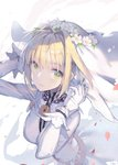 1girl blonde_hair bridal_veil eyebrows_visible_through_hair fate/extra fate/extra_ccc fate/grand_order fate_(series) flower gloves green_eyes hair_flower hair_intakes hair_ornament lace_trim looking_at_viewer nero_claudius_(bride)_(fate) nero_claudius_(fate)_(all) padlocked_collar petals ritsuki smile solo veil white_gloves wind