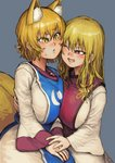 2girls :< ;d absurdres animal_ear_fluff animal_ears bangs blonde_hair blush breasts chanta_(ayatakaoisii) commentary_request dress eyebrows_visible_through_hair fox_ears fox_tail grey_background hair_between_eyes highres huge_filesize large_breasts long_hair long_sleeves looking_at_another multiple_girls multiple_tails no_hat no_headwear one_eye_closed open_mouth parted_lips red_eyes short_hair simple_background smile tabard tail touhou upper_body white_dress wide_sleeves yakumo_ran yakumo_yukari yellow_eyes yuri