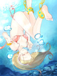 1girl ankle_cuffs anklet armlet barefoot bikini blonde_hair bubble closed_eyes diving feet freediving holding_breath jewelry long_hair ocean original pearl_(gemstone) ring rock solo swimsuit underwater upside-down water wisterian06