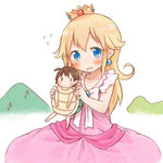 2girls ana_coppola blonde_hair blush brown_eyes brown_hair cosplay crown dennou_usagi dress ichigo_mashimaro itou_chika long_hair looking_at_viewer mario_(series) minigirl multiple_girls parody pink_dress princess_peach princess_peach_(cosplay) short_hair side_ponytail super_mario_bros. sweat