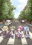+++ 4girls abbey_road ahoge antenna_hair barefoot bird_wings black_cape black_skirt black_vest blonde_hair blue_dress blue_hair blue_shorts brick_wall cape car chibi cirno closed_eyes commentary_request crosswalk day dress eyebrows_visible_through_hair eyebrows_visible_through_hat facing_another flying_sweatdrops green_eyes green_hair ground_vehicle hair_between_eyes hands_on_hips hat head_tilt highres kneehighs lamppost lavender_dress lavender_footwear lavender_legwear long_sleeves looking_at_another looking_back motor_vehicle multiple_girls mystia_lorelei open_mouth outdoors outstretched_arms pink_eyes pink_hair puffy_short_sleeves puffy_sleeves red_footwear red_neckwear road rumia shirt short_hair short_sleeves shorts sidewalk skirt skirt_set smile spread_arms standing standing_on_one_leg stepping_on_clothes takanoru team_9 the_beatles touhou untucked_shirt vanishing_point vest volkswagen_beetle walking wardrobe_malfunction white_legwear white_shirt wings wriggle_nightbug
