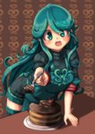1girl :d absurdres apron aqua_hair borokuro cake chocolate chocolate_cake food fork green_eyes green_legwear highres leaning_forward long_hair looking_at_viewer open_mouth personification plate pokemon ribbed_sweater slice_of_cake smile solo sweater table tangrowth thighhighs very_long_hair wavy_hair