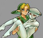 1boy 1girl blonde_hair blue_eyes carrying clothed_male_nude_female extra_eyes grey_skin hat link monster_girl neaze ocarina_of_time pointy_ears princess_carry princess_ruto red_eyes smile the_legend_of_zelda tunic young_link zora