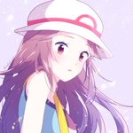 1girl blue_(pokemon) blue_eyes blush brown_hair hat indisk_irio long_hair looking_at_viewer open_mouth pokemon pokemon_(game) pokemon_frlg porkpie_hat shirt sleeveless sleeveless_shirt solo white_background