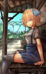 1girl alice_margatroid alice_margatroid_(pc-98) arm_support bangs bench black_legwear black_skirt blue_hairband blue_ribbon blue_skirt blue_sky blurry blurry_background casual commentary_request day depth_of_field eyebrows_visible_through_hair from_side hair_ribbon hairband half-closed_eyes high-waist_skirt highres miniskirt outdoors parted_bangs pleated_skirt ribbon shirt short_hair short_sleeves shounen_(hogehoge) sitting skirt sky smile solo striped striped_shirt suspender_skirt suspenders thighhighs touhou touhou_(pc-98) train_station utility_pole younger