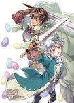 2boys >:o aqua_jacket arm_up armor black_pants brown_gloves brown_hair cape cover cover_page egg glint gloves green_cape hair_over_one_eye highres holding holding_sword holding_weapon jacket leather leather_gloves male_focus multiple_boys novel_cover official_art okashina_tensei pants shuri_yasuyuki silver_hair standing sword weapon