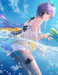 1girl absurdres bikini bikini_skirt black_bow blue_sky bow breasts day floating_hair from_behind green_eyes gun hair_bow hair_rings highres holding holding_gun holding_weapon leiq long_hair looking_back luo_tianyi medium_breasts outdoors parted_lips partially_submerged purple_hair ribbon short_hair_with_long_locks sideboob sidelocks sky smile solo swimsuit thigh_ribbon very_long_hair vocaloid vocanese water_gun weapon white_bikini