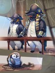 bicorne bird blue_sky commentary_request day fantasy hat highres looking_at_viewer no_humans original osafune_ai outdoors penguin railing rope royal_navy sails ship shirt sitting sky sleeping standing striped striped_shirt watercraft
