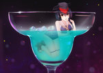 1girl bad_id bad_pixiv_id black_hair brown_eyes cocktail cocktail_glass cup drink drinking_glass hair_between_eyes hat headphones highres i-13_(kantai_collection) ice ice_cube in_container in_cup kantai_collection margarita minigirl neckerchief oversized_object rko_(a470350510) sailor_collar sandals school_swimsuit short_hair solo swimsuit white_neckwear