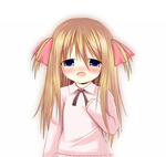 1girl blonde_hair blue_eyes blush bow child clenched_hand crying crying_with_eyes_open hair_bow long_hair long_sleeves muta_(omaebaka) open_mouth sad simple_background solo sweater tears toshinou_kyouko white_background younger yuru_yuri