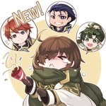 1girl 3boys ahoge bangs blue_eyes blue_hair brown_hair closed_eyes closed_mouth commentary_request confetti earrings eliwood_(fire_emblem) eyebrows_visible_through_hair fire_emblem fire_emblem:_the_blazing_blade fire_emblem_heroes gloves green_hair hair_ornament hector_(fire_emblem) highres holding jewelry long_hair long_sleeves lyn_(fire_emblem) mark_(fire_emblem:_the_blazing_blade) multiple_boys nakabayashi_zun open_mouth parted_lips party_popper ponytail red_hair scarf shiny shiny_hair short_hair simple_background tears tiara