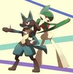 angry animal_ears arm_up back-to-back beige_background blue_hair clenched_teeth fighting_stance from_behind full_body furry gallade gen_4_pokemon green_hair green_skin hair_over_one_eye hand_up looking_at_viewer looking_back lucario multicolored_hair no_humans open_mouth outstretched_arm pokemon pokemon_(creature) red_eyes sharp_teeth shiwo_(siwosi) short_hair standing tail teeth two-tone_hair two-tone_skin white_skin wolf_ears