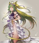 1girl ahoge alternate_costume animal_ears armlet atalanta_(fate) bare_shoulders blush bracelet cat_ears cat_tail choker closed_mouth commentary cosplay dress fate/grand_order fate_(series) floating_lights frills from_side gradient_hair green_eyes green_hair hair_ornament highres jewelry kakage legs long_hair multicolored_hair skirt skirt_lift stheno stheno_(cosplay) tail thighs two-tone_hair very_long_hair white_dress