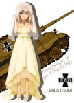 1girl absurdres bangs blue_eyes bridal_veil character_name collarbone dress eyebrows_visible_through_hair full_body girls_und_panzer ground_vehicle highres itsumi_erika jewelry long_dress looking_at_viewer medium_hair military military_vehicle motor_vehicle necklace pumps shiny shiny_hair silver_hair sleeveless sleeveless_dress solo strapless strapless_dress tank tiger_ii veil wedding_dress white_footwear yellow_dress