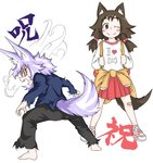 2girls absurdres angry animal_ears backpack bag bandaid bandaid_on_knee barefoot blush brown_eyes brown_hair closed_mouth clothes_around_waist dog_child_(doitsuken) dog_ears dog_girl_(doitsuken) dog_tail doitsuken fang grey_pants hair_bobbles hair_ornament highres jacket_around_waist knee_blush legs_apart looking_at_viewer looking_back low_twintails multiple_girls one_eye_closed open_mouth original pants pink_footwear pleated_skirt purple_hair red_eyes red_skirt shirt shoes short_hair simple_background skirt smile tail torn_clothes translation_request twintails white_background white_shirt wide-eyed