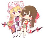 2girls :t ascot bare_shoulders black_footwear blonde_hair bow brown_hair chibi commentary_request cup dango detached_sleeves dress food frilled_bow frills full_body gap hair_bow hair_tubes hakurei_reimu hat hat_ribbon heart holding holding_cup holding_food jitome juliet_sleeves long_hair long_sleeves looking_at_another mob_cap multiple_girls pantyhose petticoat puffy_sleeves red_bow red_eyes red_ribbon red_skirt ribbon sanshoku_dango shinoba shoes sidelocks simple_background sitting skirt skirt_set smile socks tabard touhou very_long_hair wagashi white_background white_dress white_headwear white_legwear wide_sleeves yakumo_yukari yellow_eyes yellow_neckwear
