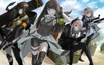 4girls anti-rain_(girls_frontline) ar-15 assault_rifle bangs black_gloves black_jacket black_legwear blue_eyes breasts brown_eyes brown_hair closed_mouth cloud commentary_request eyeball eyebrows_visible_through_hair eyepatch fang fingerless_gloves girls_frontline gloves gun hair_ornament headphones headphones_around_neck holding holding_gun holding_weapon hood hooded_jacket jacket kesomaru long_hair long_sleeves m16 m16a1 m16a1_(girls_frontline) m4_carbine m4_sopmod_ii m4_sopmod_ii_(girls_frontline) m4a1_(girls_frontline) multicolored_hair multiple_girls open_mouth outdoors pink_eyes pink_hair rifle short_sleeves sitting sky smile st_ar-15_(girls_frontline) standing streaked_hair tank_top thighhighs weapon