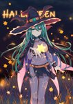 1girl absurdres belt black_skirt bodysuit breasts cape chain commentary_request covered_navel date_a_live emerald_(gemstone) green_eyes green_hair hair_between_eyes halloween hand_up hat highres huge_filesize large_breasts long_hair looking_at_viewer mo_(pixiv9929995) natsumi_(date_a_live) orange_belt see-through skin_tight skirt smile solo star star_print starry_background very_long_hair witch witch_hat