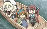 +++ 3girls ^_^ ^o^ arm_warmers asagumo_(kantai_collection) bandaid bandaid_on_face beret black_gloves black_legwear blonde_hair boat brown_hair closed_eyes commentary crab dated fang gloves green_jacket grey_skirt hair_between_eyes hair_ribbon hamu_koutarou hand_on_own_face hat headband highres jacket kantai_collection long_hair long_sleeves mole mole_under_eye multiple_girls oboro_(kantai_collection) open_mouth pleated_skirt purple_eyes ribbon richelieu_(kantai_collection) shirt short_hair short_sleeves skirt smile thighhighs twintails v-shaped_eyebrows watercraft white_hat white_shirt yellow_eyes