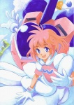 1girl 80s :d bell blue_eyes blush cloud flat_chest flying gloves hands heart hirokazu mecha oldschool open_mouth outdoors pastel_(twinbee) pink_hair short_hair sitting sky smile solo traditional_media twinbee water